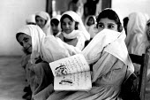Afghan refugee girls at school. Keshkhi refugee camp. NWFP, Pakistan. 1989 - Howard Davies - &,1980s,1989,Afghan,afghanistan,afghans,asia,Asian,asians,belief,camp,camps,child,CHILDHOOD,children,conviction,Diaspora,displaced,dress,edu,edu education,educate,educating,education,educational,faith