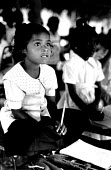 Tamil children displaced by the civiil war at school in an area held by the Tamil Tigers. Madhu, Sri lanka. 1995 - Howard Davies - 03-05-1995