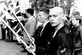 Far right members of the National Front at a commemoration at the Centotaph, London 1989 which they attend before the main annual Armistice parade - Howard Davies - 01-08-1989