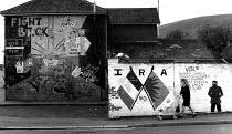 Republican mural, West Belfast, Northern Ireland, 1989 - Howard Davies - 1980s,1989,activist,activists,against,britain,CAMPAIGN,campaigner,campaigners,CAMPAIGNING,CAMPAIGNS,cities,city,conflict,conflicts,DEMONSTRATING,DEMONSTRATION,demonstrations,flag,flags,Ireland,Irish,m