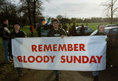 Remember Bloody Sunday banner held by Republican marchers in Manchester - Paul Herrmann - 1990s,1995,activist,activists,Army,Bloody,Bloody Sunday,CAMPAIGN,campaigner,campaigners,CAMPAIGNING,CAMPAIGNS,DEMONSTRATING,DEMONSTRATION,DEMONSTRATIONS,Irish,manchester,martyrs,nationalism,nationalis
