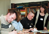 Adult education Basic Skills course learning to read and write. Organised by CATU trades union Stoke on Trent - John Harris - 02-02-2000