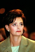 Cherie Blair MP listening to leaders speech Labour Party Conference 2000. - John Harris - 2000,2000s,attention,attentive,Blair,Conference,conferences,female,intelligence,intelligent,interested,listening,Party,people,person,persons,POL politics,reason,speech,thinking,thought,woman,women