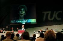 Pate Gale NUKFAT addressing TUC Congress 2000 - John Harris - 2000,2000s,KFAT,member,member members,members,NUKFAT,trade union,trade union,trade unions,trades union,trades union,trades unions,TUC,TUCs