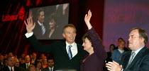 Tony Blair, Cherie and John Prescott MP, Labour Party Conference 2004 - John Harris - 2000s,2004,Conference,conferences,mp,Party,pol politics,speech,Standing ovation