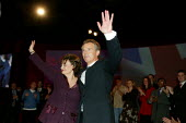 Tony Blair and Cherie, Labour Party Conference 2004 - John Harris - 2000s,2004,Conference,conferences,mp,Party,pol politics,speech,Standing ovation