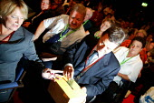Dave Prentis casting a card vote and the Unison delegation voting during the Health policy debate, Labour Party conference 2003 - John Harris - 2000s,2003,block,blocks,conference,conferences,democracy,Health,member,member members,members,Party,people,POL politics,Trade Union,Trade Union,trade unions,Trades Union,Trades Union,trades unions,Uni