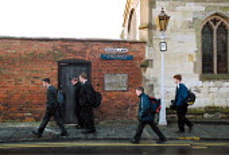 School pupils on the way to King Edward 5th Grammar school for boys, Stratford on Avon - John Harris - 2000,2000s,BOY,boys,child,CHILDHOOD,children,EDU education,elite,elitism,EQUALITY,INEQUALITY,juvenile,juveniles,kid,kids,male,people,Privilege,Privileged,pupil,pupils,school,Schoolboy,Schoolboys,schoo