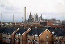 Housing, Port Talbot Steelworks Corus South Wales - John Harris - 2000,2000s,capitalism,capitalist,EBF economy business,FACTORIES,factory,houses,housing,Industries,industry,iron,job,jobs,LAB LBR work,maker,makers,making,manufacture,manufacturer,manufacturers,manufac