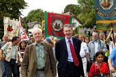Tony Benn with his son Hilary Benn MP, on the parade of banners, TUC Tolpuddle Martyrs Festival 2004 - John Harris - 18-07-2004