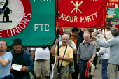 Prospect and GCHQ on the parade of banners, TUC Tolpuddle Martyr's Festival 2004 - John Harris - 18-07-2004