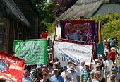 NATFHE and Thompsons Solicitors banners, The Martyrs of Tolpuddle Festival, Dorset 2005 - John Harris - 17-07-2005