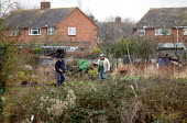Retired man digging a vegetable patch on his allotment. - John Harris - 17-01-2006