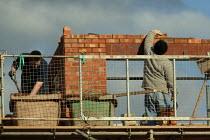 Laying bricks Construction of new buildings. Stratford on Avon, Warwickshire - John Harris - 2000s,2006,BRICK,bricklayer,bricklayers,bricklaying,bricks,builder,builders,building site,Construction Industry,EBF Economy,job,jobs,LAB LBR Work,Laying,newbuild,people,Warwickshire,worker,workers,wor