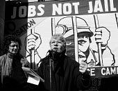 Betty Heathfield, Women Against Pit Closures, speaking, Jobs Not Jail rally against the victimisation of miners, Sheffield 1985 - John Harris - 30-03-1985
