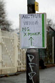 The ignominious end for MG Rover.Sign for the auction of MG Racing cars at Longbridge, Birmingham. - John Harris - 24-03-2006