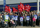 Peugeot workers protesting at the closure of the Ryton plant at a car dealers in Coventry. - John Harris - 2000s,2006,activist,activists,amicus,auto industry,Automotive,CAMPAIGN,campaigner,campaigners,CAMPAIGNING,CAMPAIGNS,capitalism,capitalist,Car Industry,carindustry,CLOSED,closing,closure,closures,DEMON