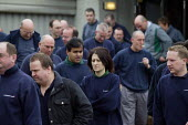 Grim faces as workers leaving a meeting at the PSA Peugeot Citroen plant. The French carmaker is to close the factory with the loss of 2,300 jobs. Ryton near Coventry - John Harris - 2000s,2006,auto industry,Automotive,capitalism,capitalist,Car Industry,carindustry,CLOSED,closing,closure,closures,deindustrialisation,Deindustrialization,EBF Economy,FACTORIES,factory,French,industri
