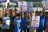 Hundreds of young Polish migrant workers protesting at their working conditions in a Stop exploitation picket at S and A Produce, Strawberry farm which supplies a third of all strawberries sold in Bri... - John Harris - 2000s,2006,activist,activists,agriculture agricultural,bme minority ethnic,CAMPAIGN,campaigner,campaigners,CAMPAIGNING,CAMPAIGNS,DEMONSTRATING,DEMONSTRATION,DEMONSTRATIONS,Diaspora,DISPUTE,disputes,EA
