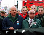 Roger Lyons MSF and Sir Ken Jackson AEEU at demonsration against the break up of Rover by BMW, and loss of jobs at Longbridge, Birmingham attended by 50,000. - John Harris - 01-04-2000