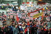 NATFHE banner. Demonstration against the break up of Rover by BMW, and loss of jobs at Longbridge, Birmingham attended by 50,000. - John Harris - 01-04-2000