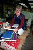 Women worker packing book orders production line at OUP automated print distribution centre Corby - John Harris - 1990s,1999,automated,AUTOMATIC,AUTOMATION,BOOK,books,capitalism,capitalist,distribution,EBF economy business,employee,employees,Employment,ergonomic ergonomics,ergonomics ergonomic,europeregi,female,I