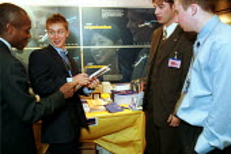 PCS union organisers recruiting workers at EDI Telford, Inland Revenue office. - John Harris - 2000,2000s,ACTIVIST,ACTIVISTS,BME Black minority ethnic,campaigner,campaigners,member,member members,members,membership,ORGANISE,ORGANISER,organisers,ORGANISES,organising,organizer,organizers,organizi