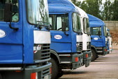 HGV vehicles parked in loading bays at a chilled food products distribution centre, Express Chilled Distribution. - John Harris - 2000,2000s,distribution,EBF economy business,food,FOODS,HAULAGE,HAULIER,HAULIERS,HGV,hgvs,LGV,LGVs,loading,Lorries,lorry,parked,PARKING,Road Transport,transport,transportation,transporting,vehicle,veh