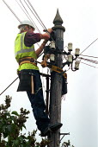 BT engineer repairing a telephone junction box up a telegraph pole. - John Harris - 15-08-2000
