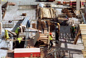 Workers on a building site, construction site Worcester. - John Harris - 04-10-2000