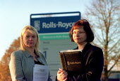 Cath Henzell GMB and Sel McLynn GMB outside Rolls-Royce Ansty where trades union are against company plans to reduce jobs from 900 to 300. - John Harris - 2000,2000s,against,company,female,GMB,member,member members,members,outside,people,person,persons,plans,REP,representative,representatives,Rolls,Royce,steward,STEWARDS,Trade Union,Trade Union,trade un