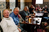 Men drinking in a welfare social club Bryngwyn South Wales. Retired steelworkers. - John Harris - 15-06-2001