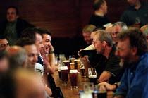 Men drinking in a welfare social club Bryngwyn South Wales. - John Harris - 15-06-2001