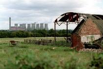 Disused farm with power station. Nottinghamshire. - John Harris - 07-09-2001