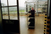 Scientist moving plants from greenhouses at Horticulture Research International. HRI Wellesbourne, Warwickshire - John Harris - 13-04-2003