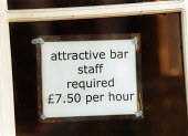 Sign in the window of a Pub advertising Attractive Bar staff required 7.50 per hour. - John Harris - 02-07-2002