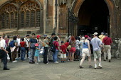 Tourists visiting King's College Chapel, Cambridge. - John Harris - 2000s,2003,ACE,ACE culture,architecture,attraction,buildings,Chapel,College,COLLEGES,culture,FEMALE,historic,holiday,holiday maker,holiday makers,holidaymaker,holidaymakers,holidays,Kings,LFL lifestyl