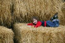 Emilio climbing on to straw bales on a farm in Warwickshire - John Harris - 06-03-2004