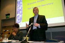 Brendan Barber TUC & Glora Mills Unison, TUC Unite against fascism rally NEC. - John Harris - 03-04-2004