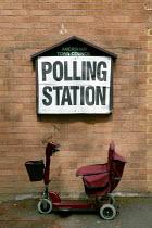 Disabled transport outside the polls. Amersham, Buckinghamshire - John Harris - 10-06-2004