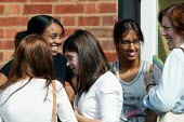 Pupils and their A level results, Shottery Grammar School for Girls, Stratford upon Avon. - John Harris - 2000s,2004,6th,6th form,adolescence,adolescent,adolescents,BAME,BAMEs,Black,BME,bmes,CELEBRATE,celebrating,celebration,celebrations,child,CHILDHOOD,children,diversity,edu education,EMOTION,EMOTIONAL,E