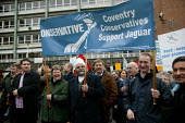 Conservative Party banner. Protest by Jaguar workers at the decision by Ford to close Brown's Lane, Coventry. - John Harris - 27-11-2004