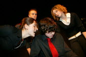 Pupils acting in an Anti Bullying week play �Banged Out by Robert Higgs performed in local Secondary schools by pupils from John Cleveland College - John Harris - 2000s,2004,ACE arts culture,act,acting,actor,actors,adolescence,adolescent,adolescents,anti social behavior,anti social behaviour,anti socialanti social behavior,antisocial,antisocial behaviour,bad,be