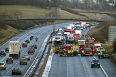 Emergency services at an accident which caused the M40 motorway to be closed in both directions. - John Harris - 18-02-2005