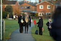 Pupils walking home from school. - John Harris - 2000s,2006,adolescence,adolescent,adolescents,child,CHILDHOOD,children,comprehensive,COMPREHENSIVES,edu education,female,females,footpath,footpaths,girl,girls,home,juvenile,juveniles,kid,kids,path,pat