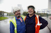 Frank Senior Amicus and Hungarian Barnabus Beto outside Cottam power station, where the union has recruted foreign workers and work in solidarity. - John Harris - 11-10-2006