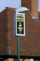 Sign warning burglers of SmartWater forensic property coding crime reduction programme, housing estate Nottingham. - John Harris - 19-01-2007