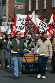 Workers from UEF demonstrate to mark the anniversary of their lost pensions, Bromsgrove. - John Harris - 2000s,2007,activist,activists,amicus,anniversary,CAMPAIGN,campaigner,campaigners,CAMPAIGNING,CAMPAIGNS,DEMONSTRATING,demonstration,DEMONSTRATIONS,lost,member,member members,members,pension,pensions,pe