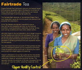 Packaging of a packet of Fairtrade tea bags from India, Sri Lanka and Africa on sale in a supermarket. - John Harris - 2000s,2007,agencies,agency,aid,bag,bags,bought,buy,buyer,buyers,buying,charities,charity,commodities,commodity,consumer,consumers,customer,customers,developing,EBF Economy,ethical,Fairtrade,FEMALE,fou