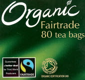 Packaging of a packet of Organic Fairtrade tea bags from India, Sri Lanka and Africa on sale in a supermarket. - John Harris - 2000s,2007,agencies,agency,aid,association,ASSOCIATIONS,bag,bags,bought,buy,buyer,buyers,buying,certification,charities,charity,commodities,commodity,consumer,consumers,customer,customers,developing,E